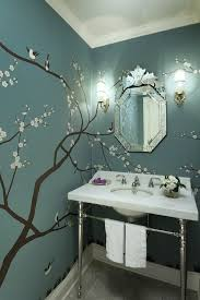 stylish home bathrooms tree wall murals blue wall paints and