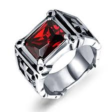 ruby bands rings images Factory direct domineering retro inlaid ruby ring men titanium jpg