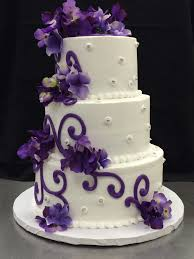 wedding cake buttercream bold scrolls purple dregees cake by