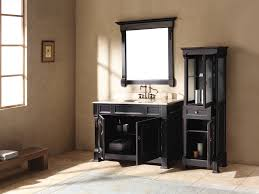 chic black bathroom vanity plus double sinks and fancy bath