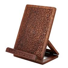 hand carved wooden cookbook stand book stand uncommongoods hand carved wooden cookbook stand 1 thumbnail