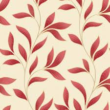 grandeco charming florals printed red leaf trail on cream