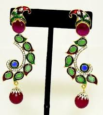 stylish gold earrings s collection stylish gold plated multi color earrings