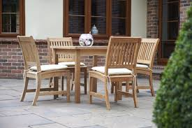 80cm teak square dining table with 4 dining chairs bridgman