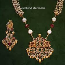 trendy south indian jewellery designs with pearls chain