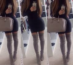 shoes over the knees high heels boots dress black dress hair