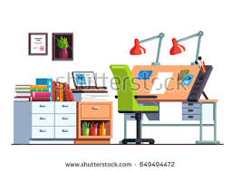 Chair And Desk Modern Painter Artist Workshop Room Canvas Stock Vector 649494946