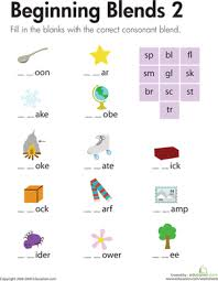 beginning blends 2 worksheet education com
