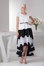 Black Homecoming Dresses With Sleeves Cap Sleeve White And Black High Low Prom Dress Formal Gown