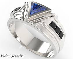 Sapphire Wedding Rings by Unique Triangle Cut Blue Sapphire Wedding Ring For Men U0027s Vidar