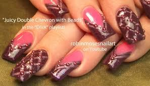 2 nail art tutorials long nails design pink u0026 purple beaded