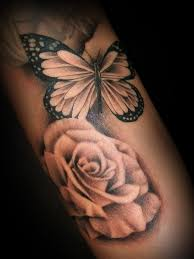 flower painting and butterfly thigh tattoos design idea for