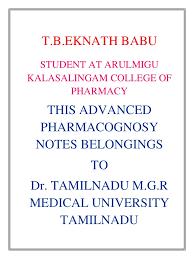 advanced pharmacognosy notes