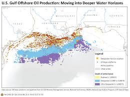 Map Of The Gulf Of Mexico by U S Gulf Offshore Oil Production Moving Into Deeper Water