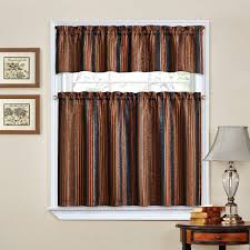 decoration 60 inch window valance 24 cafe curtains black and tan
