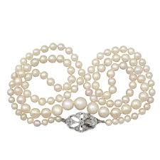 pearl necklace clasps images Single strand pearl necklace with 0 25ct diamond 9k white gold jpg