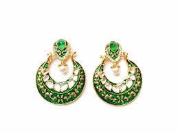 emerald earrings uk traditional chaand kundan and meenakari handcrafted indian