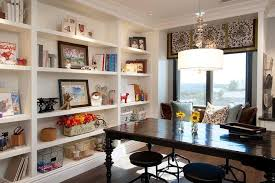 Home Craft Room Ideas - black craft room table with industrial stools transitional den