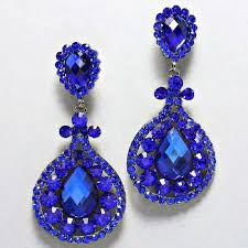 drag clip on earrings blue chandelier rhinestone clip on bridal drag