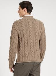 dolce u0026 gabbana chunky cable knit sweater in natural for men lyst