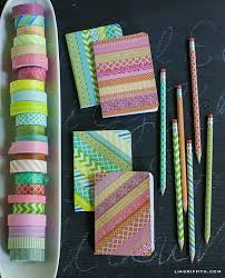 Notebook Cover Decoration Diy Washi Tape Notebooks And Pencils