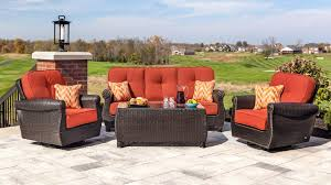 6 Seat Patio Table And Chairs Breckenridge Red 6 Pc Patio Furniture Set Swivel Rockers Sofa