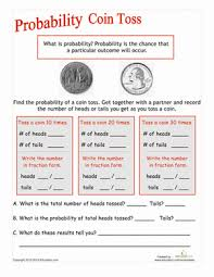 Experimental Probability Worksheet Coin Toss Probability Worksheet Education Com