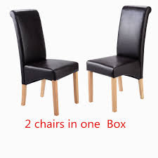 Scroll Back Leather Dining Chairs Dining Chairs Faux Leather Roll Top Scroll High Back Oak Solid