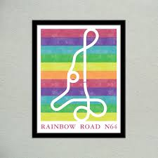 Super Mario Home Decor Pidesignprints On Etsy Mario Kart 64 Rainbow Road Track Map