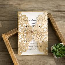 wedding invitations gold and white gold laser cut soft pink paper flower wedding invites iwsm040