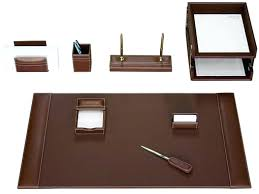 Desk Organizer Leather Desk 10pcs Set Wood Leather Desk Storage File Stationery