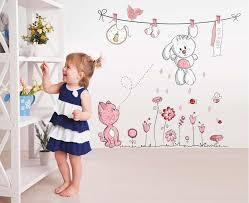 rabbit home decor pink cartoon cat rabbit flower wall sticker for baby girls kids