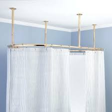 Curved Shower Curtain Bar - ceiling mount curved shower curtain rod oval home design tips