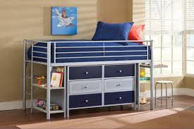 bedroom grey steel bunk beds with desk and drawers and shelves
