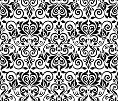 black floral graphic seamless ornament vector clipart image 29043