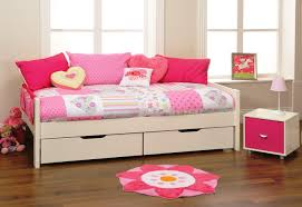 fascinating daybed with storage and shelves for blue girls room