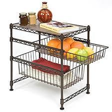 3 tier kitchen cabinet organizer amazon com seville classics stackable 3 tier sliding double basket