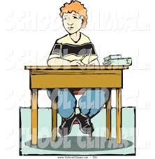 Student Desk Clipart Clip Art Of A Boy Sitting At His Desk With Books Over White
