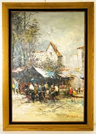 beautiful big vintage oil painting signed pisani of an italian street market scene with solid oak