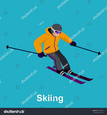 people skiing flat style design skis stock vector 375227632