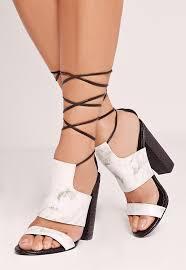 twist strap marble block heeled sandals black missguided