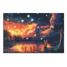 psychedelic trippy sunset print art silk cloth poster home wall