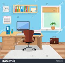 desktop table design modern office interior designer desktop flat stock illustration