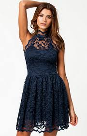 lili london lace halter neck lined skater dress hire at