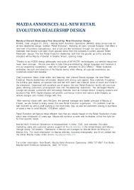 mazda announces new retail evolution for showrooms press release