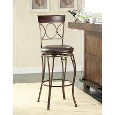 30 Inch Bar Stool With Back Circles Back 30 In Brown Swivel Cushioned Bar Stool 02731mtl 01