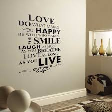 wall sticky art design text love happy smile live removable vinyl wall sticky art design text love happy smile live removable vinyl decal wall stickers decor art mural pvc adhesive 85 55cm in wall stickers from home