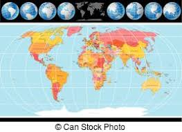 world map image with country names and capitals political map of world with country names and capital vector