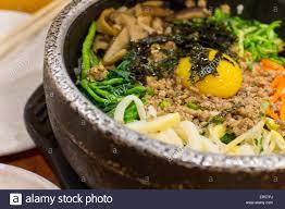 koreanische küche authentische koreanische küche rindfleisch bibimbap stockfoto