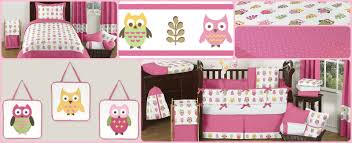 Crib Bedding Owls Pink Happy Owl Baby Bedding And Decor